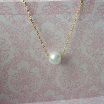 Handmade Single Floating Dainty Glass Pearl Necklace on Gold Chain, Bridesmaids Jewelry, Bridesmaids Necklaces, Bridesmaids Gifts
