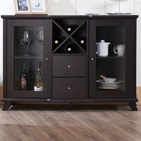 Cappuccino Wood Finish Dining Buffet Sideboard Cabinet with Wine Rack