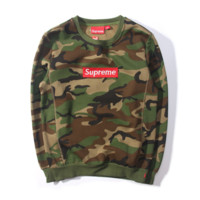 Sweater Collection Edition Supreme autumn and winter new men and women couple cotton velvet plus cashmere sweater BOX camouflage