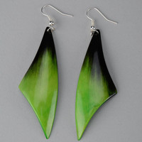 "Earrings made of cow horn ""Light Green Feathers"""
