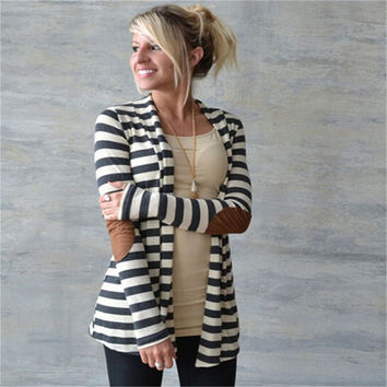 Black White Striped Elbow Patching PU Leather Long Sleeve Warm Knitted Cardigan Slim Loose Sweater Outwear for Women XY3045