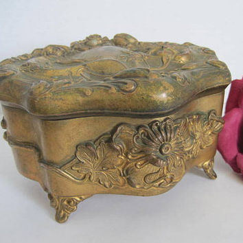 Art Nouveau Jewelry Box Large Gold Treasure Chest Casket
