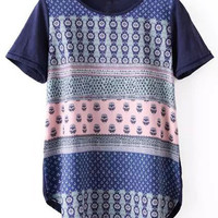 Blue Printed Short Sleeve T-Shirt
