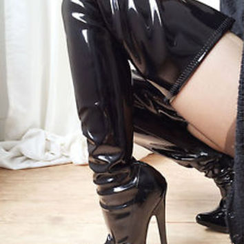 18cm Extreme Stiletto Fetish Wet Shiny Patent 70cm Crotch Length Show Dance Boot