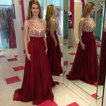 Red Applique A-Line Chiffon Prom Dresses