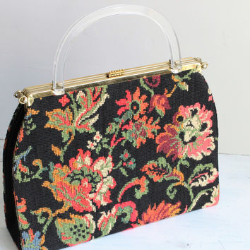Vintage 1950s Bags by Edwards Patented 3 Way Interchangeable HandBag, Needlepoint With Lucite Handle