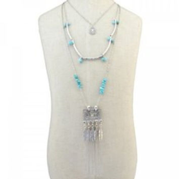 Stylish Faux Turquoise Multilayer Bead Feather Tassel Sweater Chain For Women