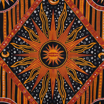 Psychedelic Tapestry, Sun Tapestry Wall Hanging, Hippie Wall Decor, Sun and Moon Bedspread, Beach Blanket, Queen Size Bed Cover