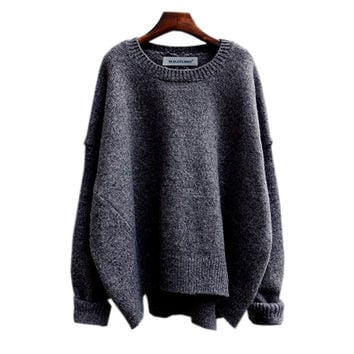 Vintage Women's Comfortable Soft Solid Winter Warm Sweater