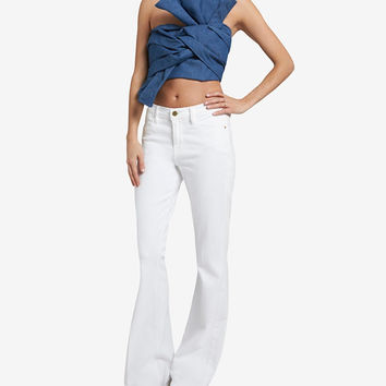 CAMEO FRONT KNOT DENIM CROP TOP
