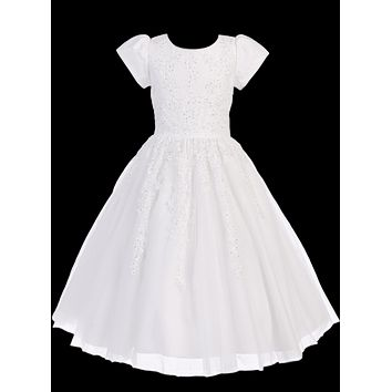 White Tulle Communion Dress w. Beading Appliques 5-14 & Plus 10x-20x