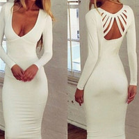 White Plunging Neckline Strappy Cut-Out Back Bodycon Midi Dress
