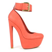 Fahrenheit Fiona-06 High Heel Platform Pump With Ankle-Strap in Peach @ ippolitan.com