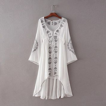 Japanese Kimono Vintage Bohemian Retro Embroidery Rockabilly Tunique Femme Vestidos Mujer Cotton Linen White V-neck Lace Dress