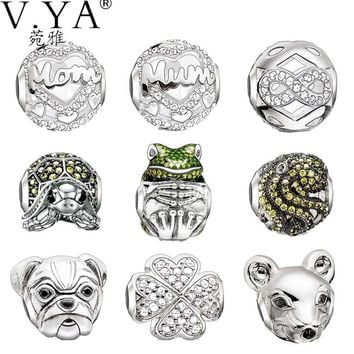 Animal Charms Or Mother's Beads for Women Men Girl Boy DIY Jewelry Luxury Crystal Beads fit for Pandora Necklace Bracelets