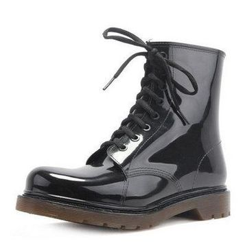 Free shipping Fashion men's Lace-Up Motorcycle Waterproof Rain Boot Shoes Non-slip wading shoes for men Fishing shoes