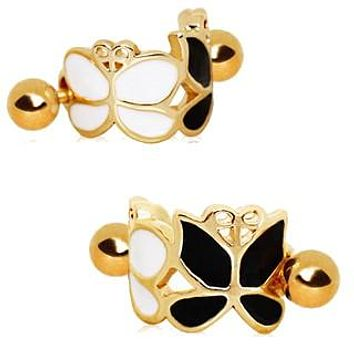 Gold Plated Black and White Butterfly Cartilage Ear Cuff