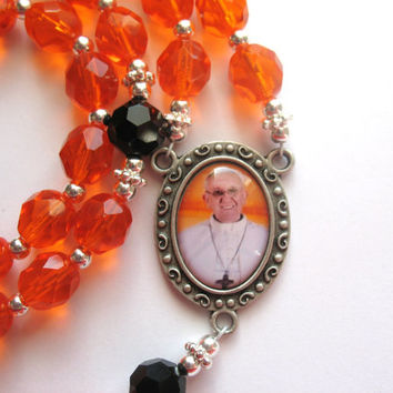 Pope Francis Rosary, Catholic Rosary, Orange Prayer Beads, Papal Rosary, Silver Crucifix, Rosary Beads, Orange Beads
