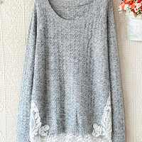 CharmdGasstation — LACE CROCHET STITCHING HEM ROUND NECK LONG SLEEVE sweater