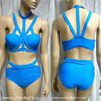 Blue Cage Bondage Bikini Swimsuit Monokini High Waisted Women Rave