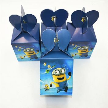 6pcs/set Funny Minions Party Supplies Candy Box Case Gift Box Kids Birthday Favor Accessory Birthday Minions Party Decoration