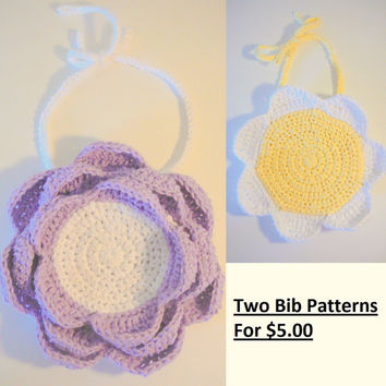 Two Flower Bib Crochet Patterns for 5.00