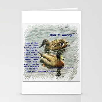 Don't worry, God cares for the birds, bible verses Stationery Cards by AJVen