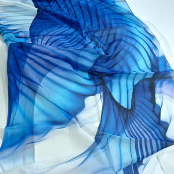 "Large square blue and white 51"" Silk Chiffon Scarf - ""Wings Series 4"" abstract design, gifts for women,for girls, Oversized scarf"