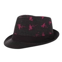 Beatnix Fashons Black Flamingo Patterned Straw Paper Fedora