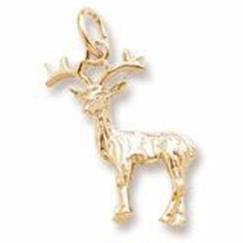 Reindeer Charm in Yellow Gold Plated