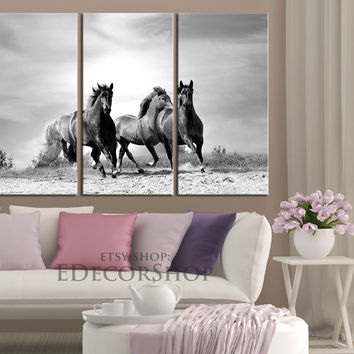 Large Wall Art 3 Panels Canvas Print Wild Black Running Horses  -  Canvas Animal Wall Art - Horse Canvas
