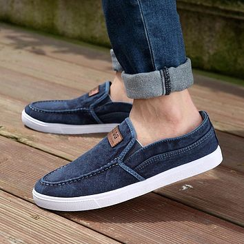 2017 Spring&Summer Men's Outdoor Slippers Lazy Canvas Shoes Casual Flat Fabric Shoes with Platform