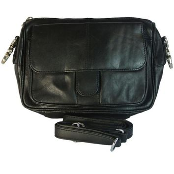 Texcyngoods Womens Leather Biker Hip Belt Waist Bag And Cross Body Purse