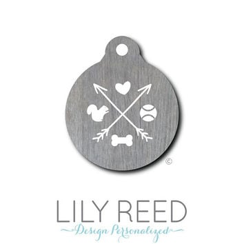 Pet Tag - Pet ID Tag - Dog Tag - Cat Tag - Lunch Box Tag - Bag Tag - Luggage Tag - Personalized Wood Print - Arrows Bone Squirrel Pet Tag