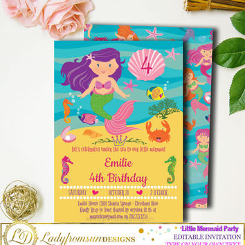 Little Mermaid Birthday Invitation, Under the Sea Party, Mermaid Party, Mermaid invite, Editable, Digital Printable |DIY INSTANT DOWNLOAD