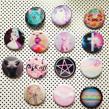 Pastel Goth Soft Grunge Kawaii Set Of 14 Buttons Plus 3 Free Button Gift With Purchase