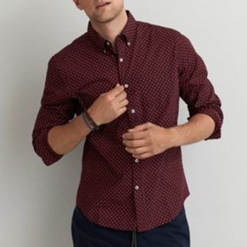 AEO Linen Button Down Shirt , Burgundy | American Eagle Outfitters