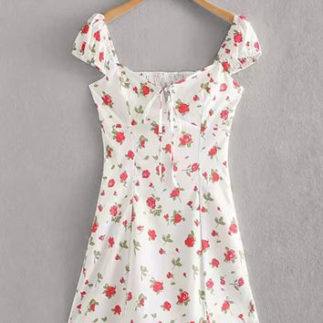 Ditsy Floral Knot Shirred Dress