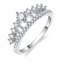 Cubic Zirconia Crown Rings For Women Rose Gold Color Crystal Ring Female Party Wedding Engagement Bridal Jewelry