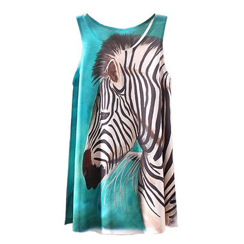KaiTingu 2016 Brand New Fashion Summer Women Girl Sleeveless Digital Graphic Zebra Print Long T Shirt Tee Blouse Vest Tank Tops