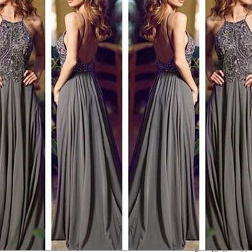 Floor Length Prom dress With Beadings on top