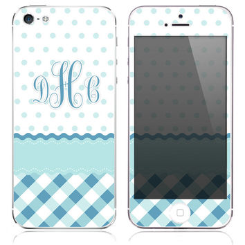 Copy of Monogrammed Blue Plaid w/ Polka Dots Print Skin for the iPhone 3gs, 4/4s, 5, 5s or 5c