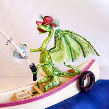 Dragon Art Doll: Gone Fly Fishing - Dragon Fisherman in Boat Catches Fly