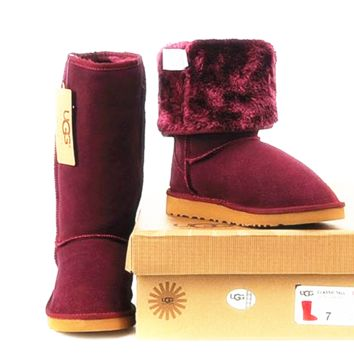"""UGG"" Women Fashion Wool Snow Boots simple high boots Wine red"