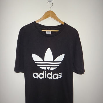 New Year Sale Vintage ADIDAS Double Side Logo Big Logo 1990s Hip Hop T Shirt