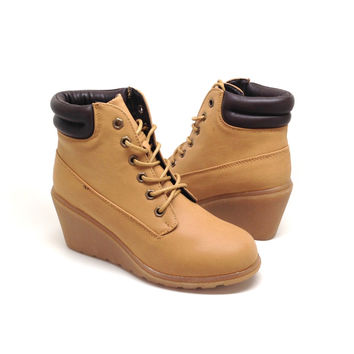 Camel Suede Short Boot with Rubber Wedge