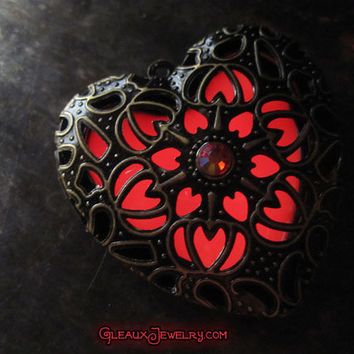 Red Fire Dahlia Heart Glow Locket