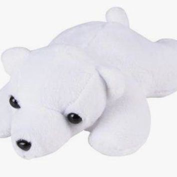 Wildlife Tree 3.5 Inch Polar Bear Mini Small Stuffed Animals Bulk Bundle of Zoo Animal Toys or Arctic Animal Party Favors for Kids Pack of 12
