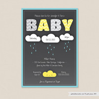 Clouds Baby Shower - Printable Invitation 5 x 7 Card