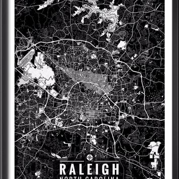 Raleigh North Carolina Map with Coordinates